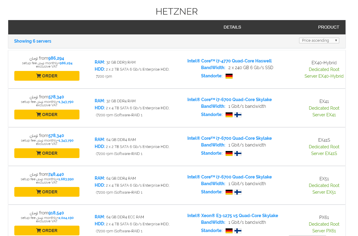 LIST BOX HETZNER Hostbaran.com